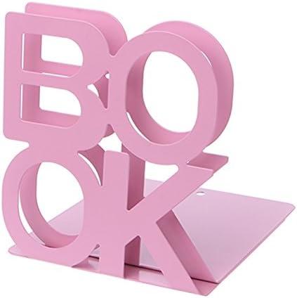 """confezione da 2 140mm*125mm*130mm Pink Jungen Reggilibri in metallo resistente scritta /""""Book/"""""""