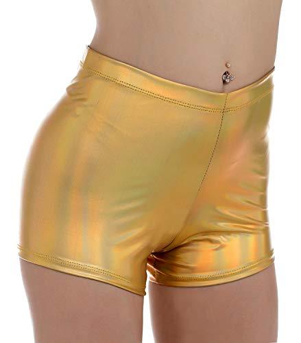 - BLACK JACKY Women's Shiny Metallic Rave Booty Shorts Hot Pants (S, Multicolor Gold)