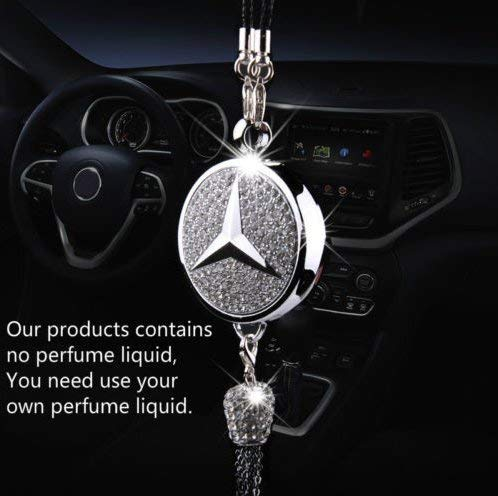 PATRICON Exquisite Car Logo Diamond Pendant Ornaments for Mercedes Benz Accessories, Car Perfume Hanging Air Refreshing Charm Decoration ()