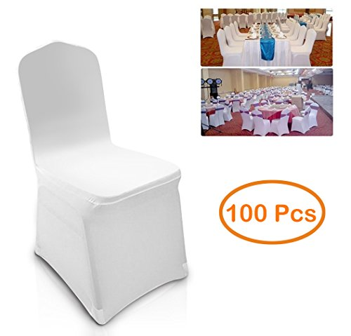 100pcs Universal White Spandex Chair Covers Slipcover for Wedding Supply Party Banquet Decoration (US Stock) (100 Pcs)]()