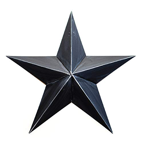 (BLACK METAL TIN BARN STAR 18 -rustic primitive country indoor outdoor Christmas home decor. Interior exterior metal decorations look great hanging on house walls fence porch patio. Quality gift 18