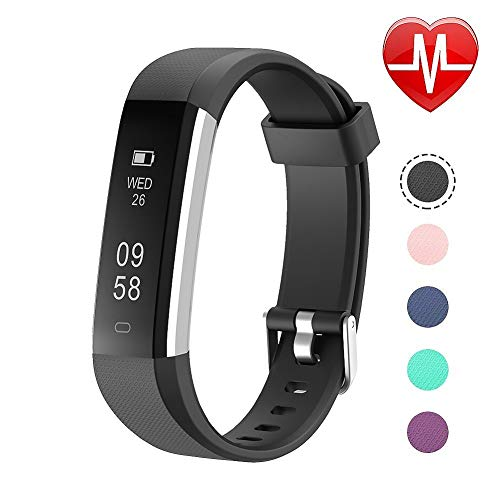 Letsfit Fitness Tracker HR, Sports Fitness Watch with Heart Rate Monitor and Sleep Monitor, Pedometer Watch, Step Counter, Bluetooth Smart Band for Kids Women and Men, black