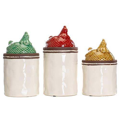 (Rooster Multicolored 11, 10, 9 Inch Ceramic Food Storage Canisters Set of 3)