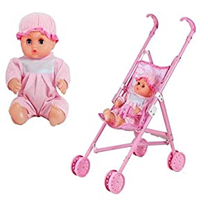 Grandnessry Childrens Toy Baby Doll Folding Pushchair Buggy Pram Stroller ,Foldable Doll Stroller With Sturdy Handle…