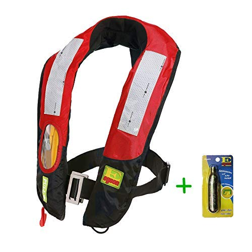 (Eyson Life Jacket Inflatable PFD Adult, Life Vest Preservers Automatic and Manual Lightweight and CE Certificated, 150KG (330lb) 2 Cartridges)