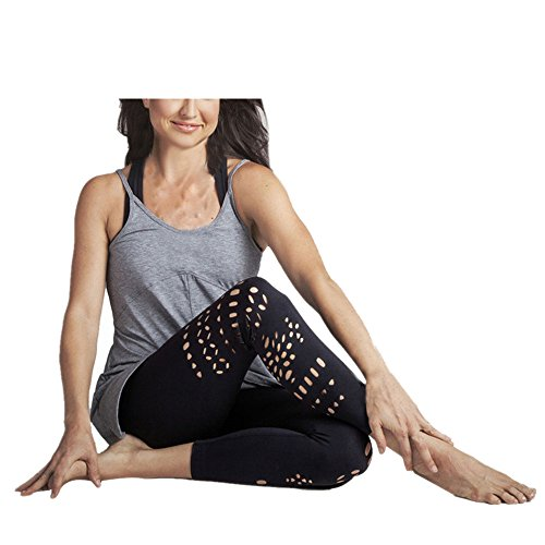 Luca Women Hight Waist Yoga Fitness Leggings Hollow Out Sports Pants Trouser (S, Black)