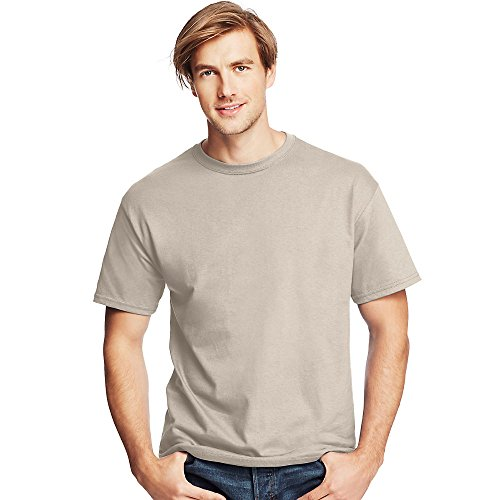 (Hanes by Men's Tagless ComfortSoft Crewneck T-Shirt_Sand_S)