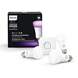 Philips Hue White & Color Ambiance A19 60w Equivalent Led Smart Light Bulb Starter Kit, 3 A19 Bulbs & 1 Bridge, Works With Alexa, Apple Homekit, & Google Assistant