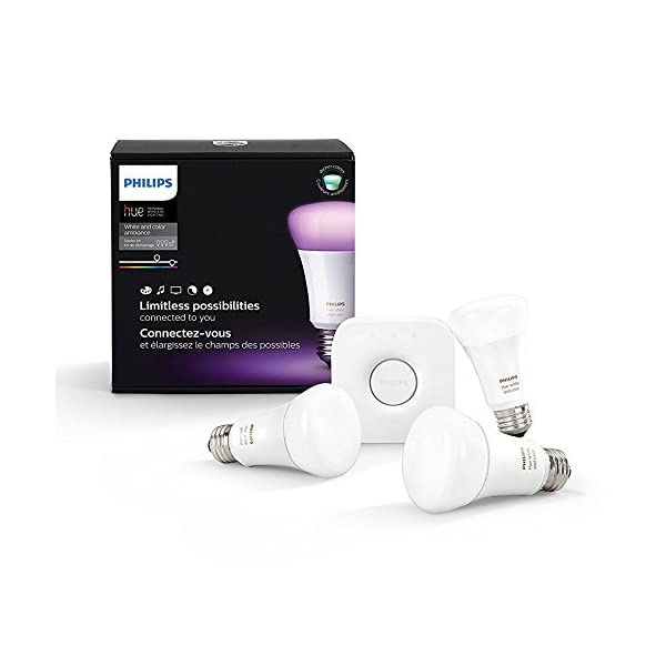 Philips Hue White and Color Ambiance A19 60W Equivalent LED Smart Bulb Starter Kit (3 A19 Bulbs and 1 Hub Compatible… 1