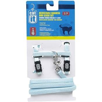 Catit Nylon Adjustable Cat Harness and Leash Set, Small, Blue