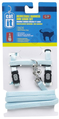 UPC 022517553640, Catit Nylon Adjustable Cat Harness and Leash Set, Small, Blue