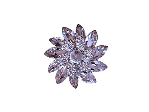 Flower Fashion Ring Rhinestone (Occasions Gift Giving Large Crystal Rhinestone Stretch Flower Ring (Clear Silvertone))