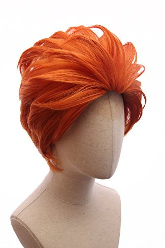 Price comparison product image Orange Bangless Short Adult Layered Cosplay Moira Wig Inspired by Overwatch