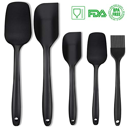 (Silicone Spatula Set 5 Piece Seamless Rubber Spatulas 600ºF High Heat-Resistant Non-stick with Stainless Steel Core Kitchen Utensils Good Grips Spatulas for Cooking & Baking)