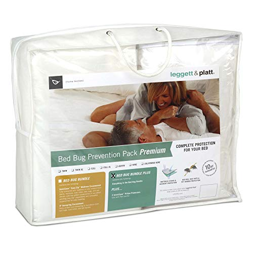 Leggett & Platt Sleep Calm 5-Piece Premium Bed Bug Prevention Pack Plus with Pillow Protectors, Easy Zip Mattress and Zippered Box Spring Encasement, ()