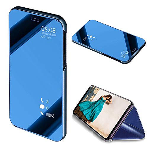 MOIKY Luxury Mirror Smart Clear View Flip Case for Galaxy A8 2018, PU Leather Cover Translucent Plating Ultra Slim Protective with Stand Function Case for Samsung Galaxy A8 2018 - Blue