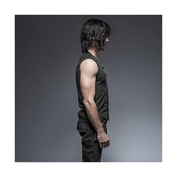 Punk Rock Man Cotton Leather Belt Sleeveless T-Shirt Front Strap Vest Bandage Casual Tank Tops 4