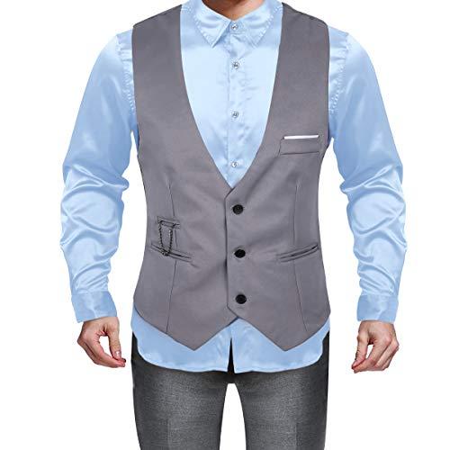 Slim Gilet Sans Costume Mariage Homme Travail Fit Business Manche Cérémonie De S 4xl D'affaires Gris Chemise Veste Soirée Cocktail Yizyif ZqAwx5FYF