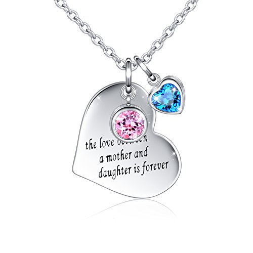 925 Sterling Silver Message Engraved The Love Between A Mother and Daughter is Forever Jewelry Heart Pendant Charm Necklace, 18