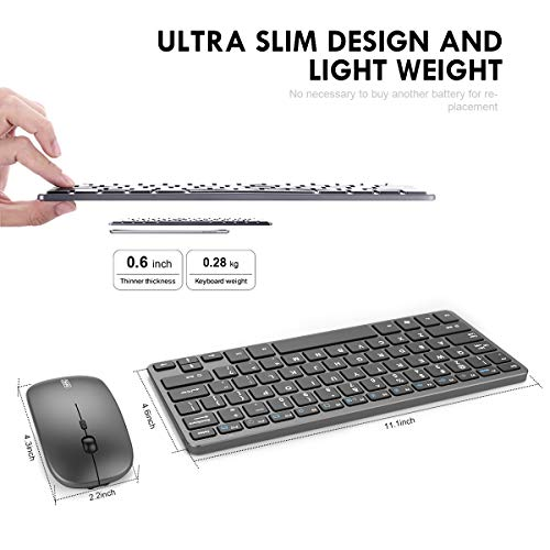 Wireless Keyboard and Mouse Combo, Inphic Rechargeable Wireless Mouse and Keyboard Combo Set with 2.4GHz USB Nano, Silent Click (65% Size-Gray)