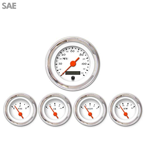 Aurora Instruments 975 Deco XT White SAE 5-Gauge Set Orange Vintage Needles, Chrome Trim Rings, Style Kit Installed