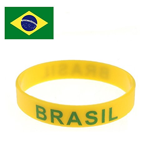 TDoperator Brasil Flag Silicone Bracelet FIFA World Cup 2018 For Soccer Fan Unisex Design Soft and Durable Wristband for National Football Supporters Fans Fashion Sport Wrist Strap Souvenir Gift