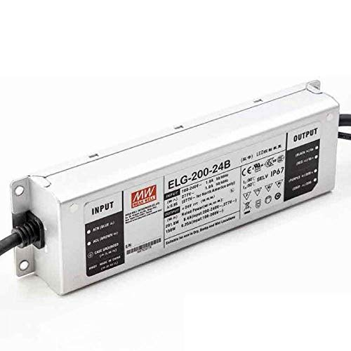 Mean Well 24V Power Supply, ELG-200-24B LED Driver - 200W 24V 8.4A -Dimmable - ()