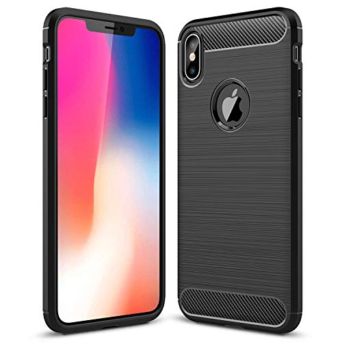 Price comparison product image iPhone XR Case, iPhone XR Phone Case Slim Thin, Designed for Apple iPhone XR 6.1 Inch Scratch Resistant Carbon Fiber TPU Rubber Soft Skin Silicone Protective Phone Case Cover (2018), Black