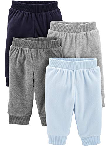 Simple Joys by Carter's Boys' 4-Pack Fleece Pants, Heather Grey/Navy/Light Blue, 18 Months