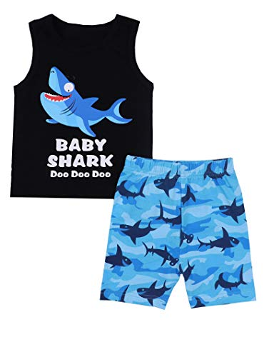 Baby Boy Clothes Baby Shark Doo Doo Doo Print Summer Cotton Sleeveless Outfits Set Tops + Short Pants 18-24 Months