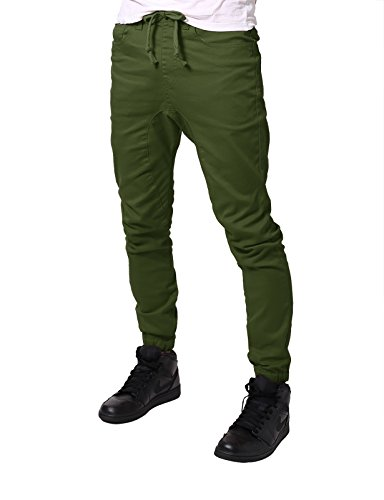 JD Apparel Men's Slim Fit Drawstring Harem Jogger Pants XL Olive