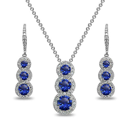 Sterling Silver Created Blue Sapphire Journey Halo 3-Stone Pendant Necklace & Leverback Earrings Set for - Silver Stone 3 Necklace Sterling