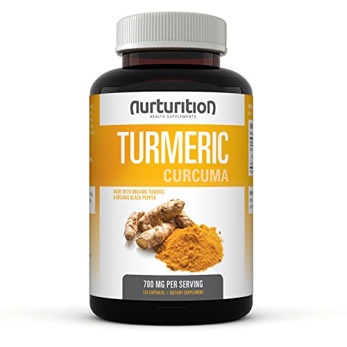 Nurturition Turmeric Curcumin capsule Supplements – Pills Made with Organic ingredients – tumeric powder filled capsules – Made in USA – Black Pepper for Better Absorption. Non-GMO – Supplement (120)