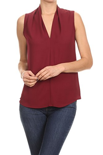 (ReneeC. Women's V Neck Sleeveless Draped Sexy Summer Tank Blouse Top (Small, Burgundy))