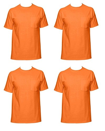 Fruit of the Loom Men's 4-Pack of Pocket T-Shirts, Safety Orange, M (Pack of 4)
