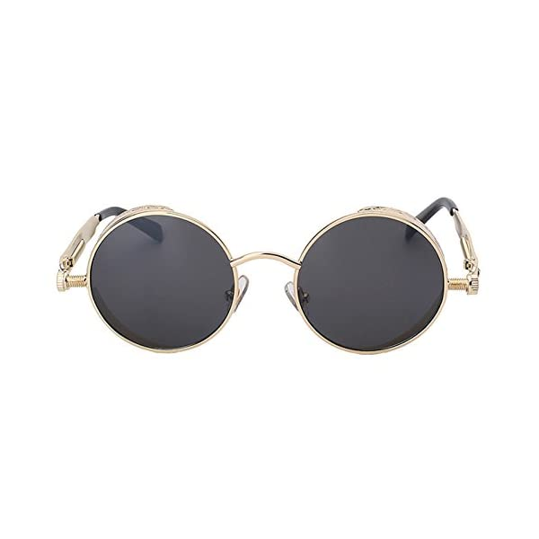 Steampunk Retro Gothic Vintage Hippie Colored Metal Round Circle Frame Sunglasses Colored Lens OWL 4