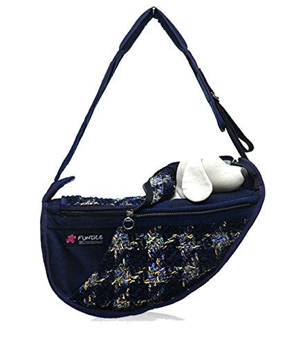 (Fundle Pet sling Dog Cat Communion Pocket Carrier Bag Adjustable Strap Navy)