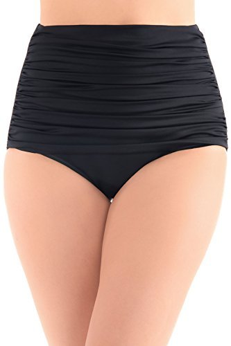Miraclesuit Women's Norma-Jean Shirred High Waist Bottom Black - Waist Bikini High Denim