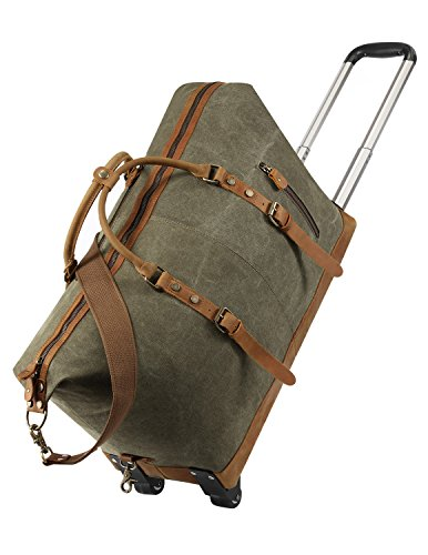 Kattee Luggage Rolling Duffel Bag Leather Trim Canvas Wheeled Carry-on Travel Bag 50L (Army - Womens Antique Handbag