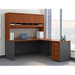 Bush Business Furniture Series C 72W L Shaped Desk Hutch Mobile File Cabinet in Auburn Maple
