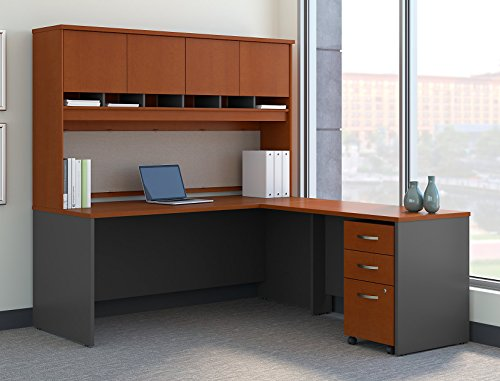 - Bush Business Furniture Series C 72W L Shaped Desk with Hutch and Mobile File Cabinet in Auburn Maple