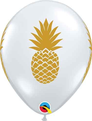 "Single Source Party Supplies - 11"" Pineapple Latex Balloons - Bag of 10"