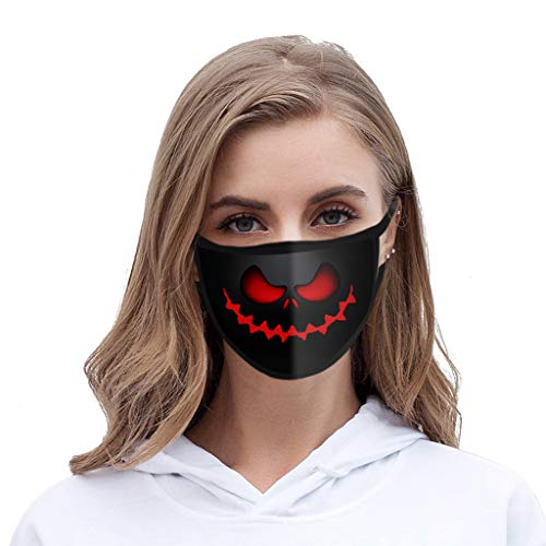 Face Balaclavas Unisex Mouth Cover Dustproof Windproof Anti-Spitting Protective Covering Washable Bandana Halloween Print Scarf Mdsk for Adult (D)