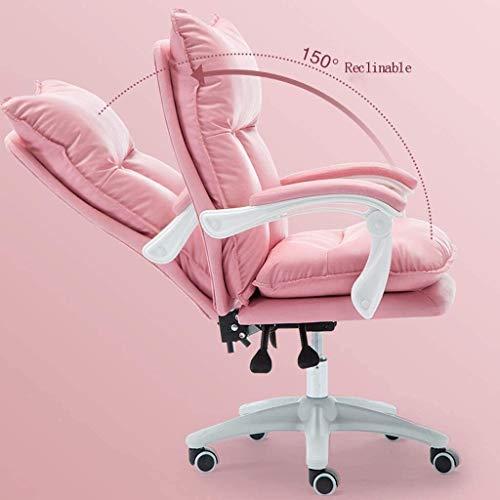 DBL Stolar datorstol, bekväm stillasittande hem rygg spelstol, vilande chef kontor svängbar stol skrivbord stolar (storlek: Rosa - med fotstöd)