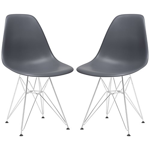 Poly and Bark Padget Side Chair, Grey, Set of 2 (Ghost Grey Chair)