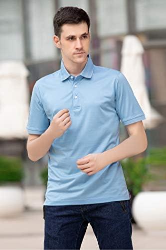 M MAELREG Men's Mercerized Cotton Short Sleeve Pima Polo Shirts Casual Collared Shirts    Product Description