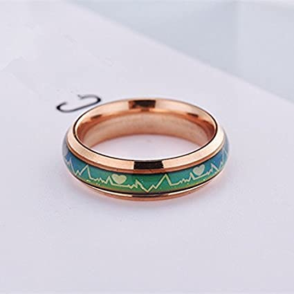 Fashion Titanium Black Mood Rings - Emotion Feeling Engagement Rings for Women and Men -Jewelry
