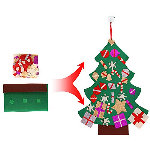 Joy-Leo 3 Foot DIY Felt Christmas Tree Door Wall Hanging with 30 Detachable Xmas Ornaments, My First Christmas Tree for Toddlers and Kids Toys
