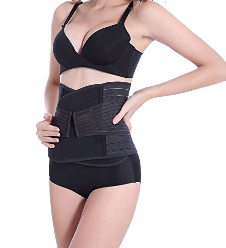 Teensery Womens Waist Trainer Corset Black Breathable Waist Training Belt Slimmer Body Shaper Lumbar Support