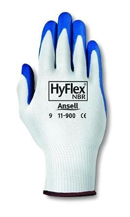 Protecci/ón mec/ánica Blanco bolsa de 12 pares Ansell HyFlex 11-900//7 Repelente al aceite guante Tama/ño 7